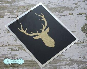 Deer Antler Silhouette Chalkboard Magnet Board Noteboard Gold Glitter Black and Gold 8x10