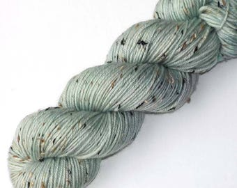 Hand Dyed Yarn Tweedy DK Light Worsted Handdyed Yarn, Blue Celadon, 230 yards