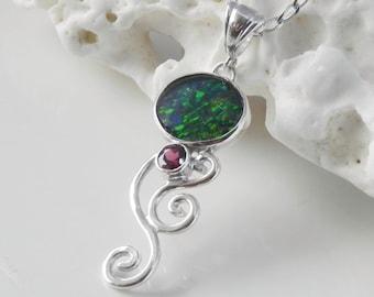 Black Opal Pendant - Black Opal Necklace - Australian Opal Necklace - Australian Opal Pendant - Rhodolite Garnet - Gift for Her - Real Opal