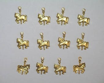 """Gold Carousel Horse Charm 1/2"""" x 3/8"""" for Art, Craft, and Jewelry Making"""