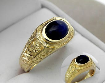 AAAA  Blue Sapphire Cabochon 9x7mm 2.66 Carats Heavy 14K Yellow gold Antique styled MAN'S ring 15 grams. 1776