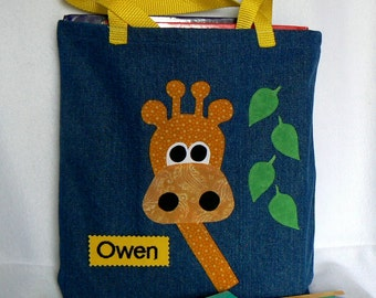 Kids Giraffe Tote Bag|BoysTote  Bag|Girls Tote Bag|Personalized Tote Bag|Toddler Gift|Library Book Bag|Toddler Bag|Easter Gift Bag