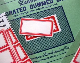 """Vintage Dennison Gummed Labels, Set of 30, No. 219, 3/4"""" x 1 7/8"""""""