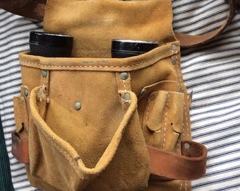 VINTAGE LEATHER TOOLBELT, fanny pack, suede, buckle belt, pouches, hipster bag, industrial carryall