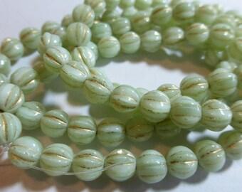 6mm Mint Green & Gold Fluted Glass Czech Melon Beads (25)