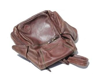 Vintage Dark Brown Leather Backpack / Large Travel Backpack / Leather Bag