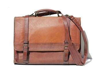 Vintage Brown Leather Briefcase Laptop Messenger Bag