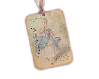 Marie Antoinette Tags, Bridesmaid Gift Tag, Paris Tags, Shepherdess Marie Antoinette Theme, Bridal Shower Tags, Pink and blue gift tags