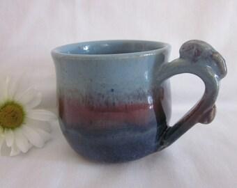 BLUE With Plum Bunny Handle Mug Stoneware