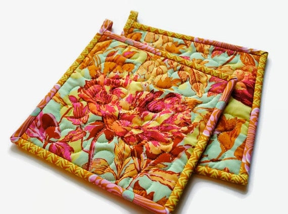 Amy Butler Potholders, Handmade Pot holders,  Contemporary Potholders, Designer Potholders