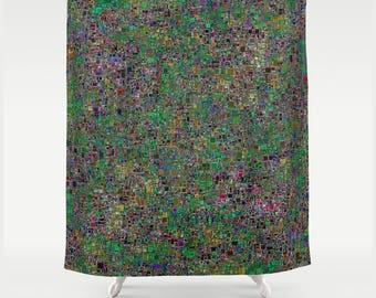 Fabric Shower Curtain in Busy Abstract Green and Multi Colour Tiny Mosaic Tile Print
