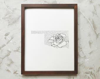 Oklahoma> Oklahoma Rose> State Flower Drawing> Giclee Print