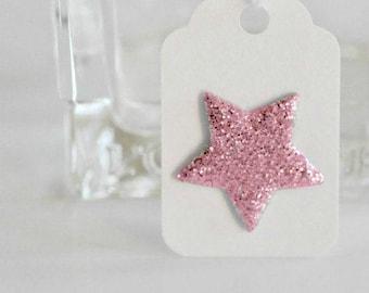 Pink Glitter Star Tags {12}   Mini Glitter Stars   Mini Star Tags   Embellishments   Pink Star Tags   Easter Gift Wrap   Baby Girl Star Tags