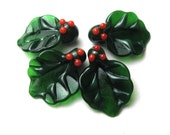 CHRISTMAS HOLLY Lampwork Leaf handmade beads in red and green  for the holidays
