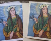 "Saint Agatha, 4.3/8"" by 5.75"" Stationary Card With Envelope on 110lb White and Ivory Card Stock Image taken from my original Catholic Art"