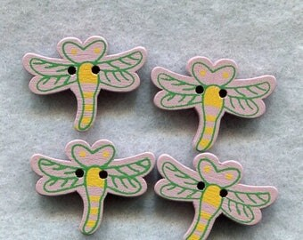SALE Dragonfly Wood Buttons Pastel Purple Wooden Buttons 20mm (3/4 inch) Set of 8 /BT250L
