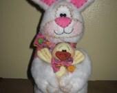 Primitive HC Easter Bunny Rabbit and Chick Doll Shelf Sitter Ornie Bowl Filler