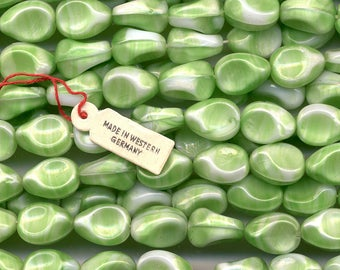 Vintage Green & White Beads 14mm Opaque Glass Unusual Shape 20 Pcs. W. Germany