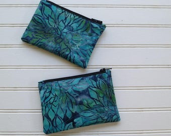 Coin Purse - Blue Floral Batik