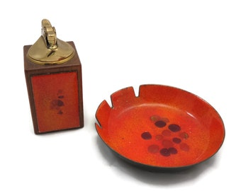 Orange Enamel Ashtray and Lighter Set - Mid Century Tobacciana, Bovano