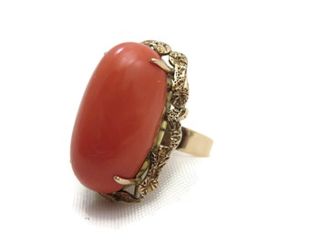 Gold Coral Ring - 18k Gold Huge Bold Cocktail Statement Ring Estate Jewelry