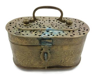 Brass Hand Warmer Box - Reticulated Lid