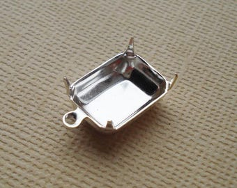 12 Sterling Silver Plated Brass 14x10mm Octagon Rectangle 1 Ring Closed Back Rhinestone Prong Settings for Flat Back or Pointed Back Jewels