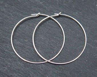 Sterling Silver Beading Hoop 30mm ~ PAIR (CG8362)