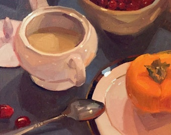 "Art painting still life by Sarah Sedwick ""Patti's Sugar Bowl"" 10x10"""