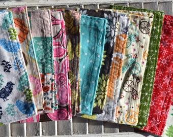 "Set of  12  11"" Flannel Cloth Napkins Starter Set Mixed Print"