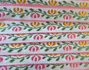 2 Yards Floral Jacquard Trim 1/2 Inch Wide Pink White Yellow and Green  VT 168
