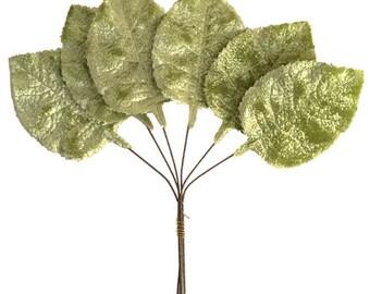 Czech Velvet Millinery Leaves 6 Green Rose Leaves  NLC 100GR