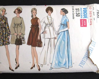 1970s Vogue pattern 7632  size 10 Maternity one piece dress top and pants