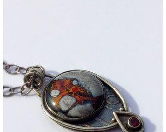 Firey Flow Lampwork Pendant with Garnet Pendant