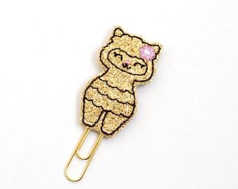 Kawaii Gold Glitter Llama Felt Planner Clip / Bookmark