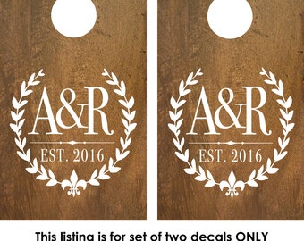 Cornhole Decal | Corn Hole Decal | Monogram Decal with Fleur De Lis | CornHole Board | Cornhole decal wedding | rustic wedding decor