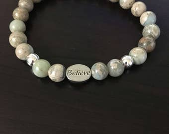 "Aqua Terra Jasper Natural Beads Beaded, ""Believe"" Word Message Charm Elastic Stretch Stackable Bracelet, Inspirational Jewelry Gift"