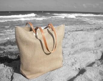 Woven Jute Beach Bag