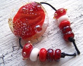 Dichroic Red Lampwork Focal & Bead Set - red, white, clear, metallic silver - SRA AutEvDesigns, ISGB