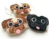 Pug Hanging decoration - fawn, brown - glitter