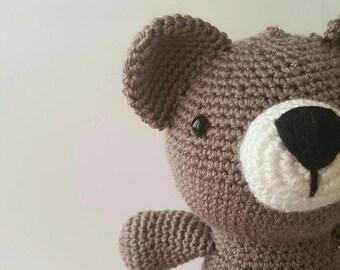 bear plush, bear plushie,crochet bear toy,amigurumi bear,children toy,nursery decorative bear,babyshower gift, sleeping toy,woodland bear,