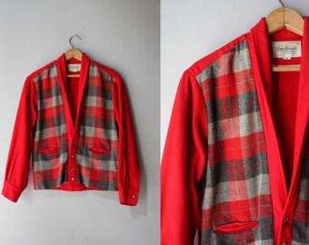 1950s Wool Jacket / Vintage 50s Mens Sportswear Jacket / Red Gray Plaid Wool Jacket