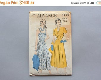 STOREWIDE SALE Reserved . . . 1940s Dress Pattern / Vintage 40s Sundress Sewing Pattern / Uncut Factory Fold Advance Pattern 4826 38 bust 32