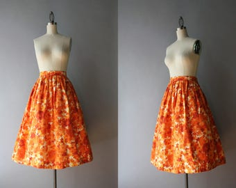 1950s Skirt / Vintage 50s Pleated Skirt / 1950s Orange Floral Cotton Skirt S small