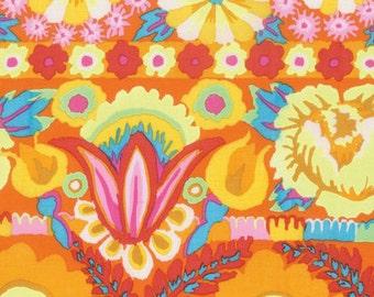 Kaffe Fassett Artisan Embroidered Flower Border Yellow Fabric 1 yard