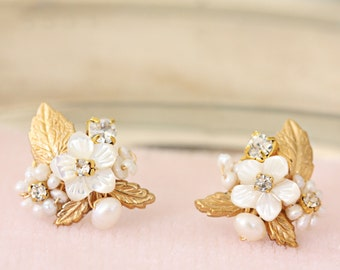 Gold Leaf and Mother of Pearl Flower, Crystal Post Wedding Earrings