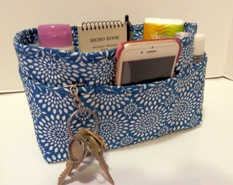 "Purse Organizer Insert/Enclosed Bottom  4"" Depth/ Teal and White Floral Burst"