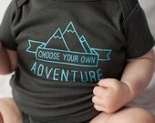 Organic Choose Your Own Adventure Onesie, Gray Baby Bodysuit, Organic Romper, Screen printed, 3-6m, 6-12 mo, 12-18mo by Sweetpea and Co.