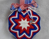 Quilted Ornament - Red/White/Blue w/ Flag Charm