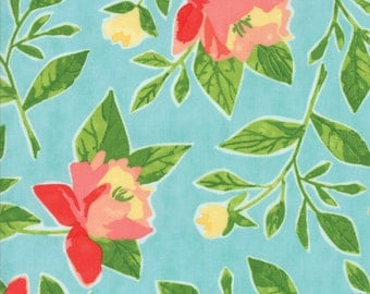 Hazelwood Fabric // Teal Peonies // 1canoe2 // cotton quilting